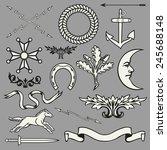 heraldic symbols and elements    Shutterstock .eps vector #245688148