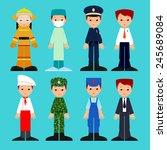 vector set of cartoon men in... | Shutterstock .eps vector #245689084