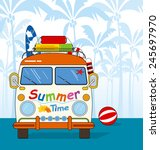 summer time. van on the beach. | Shutterstock .eps vector #245697970