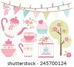 ballet princess tea garden   1 | Shutterstock .eps vector #245700124