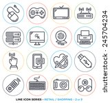 retail and shopping line icons... | Shutterstock .eps vector #245704234