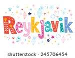 reykjavik text lettering... | Shutterstock .eps vector #245706454