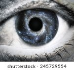 human eye looking in universe.... | Shutterstock . vector #245729554