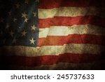 closeup of grunge american flag | Shutterstock . vector #245737633