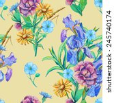 seamless pattern of bouquet of... | Shutterstock .eps vector #245740174