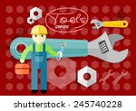 man  person with toolbox and... | Shutterstock .eps vector #245740228