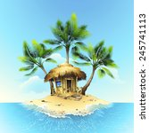 tropical bungalow on island in... | Shutterstock .eps vector #245741113