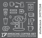 set of vector coffee elements... | Shutterstock .eps vector #245751268