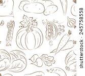 vegetables seamless pattern....   Shutterstock .eps vector #245758558