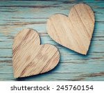 Two Wooden Hearts Placed Nicel...