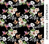 seamless pattern with wild... | Shutterstock . vector #245764114