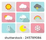 cute weather flat icons with... | Shutterstock .eps vector #245789086
