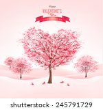 pink heart shaped sakura trees. ...