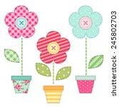 Cute Retro Spring Flowers In...