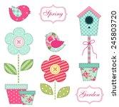 cute retro spring and garden... | Shutterstock .eps vector #245803720