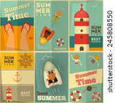 sea summer holidays posters set.... | Shutterstock .eps vector #245808550