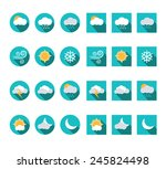 flat weather icons vector set