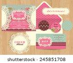set of wedding cards  ... | Shutterstock .eps vector #245851708