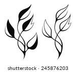 vector black stylized leaf... | Shutterstock .eps vector #245876203