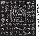 set of travel vector chalk... | Shutterstock .eps vector #245877670