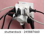 multiple electric plugs in wall ...   Shutterstock . vector #245887660