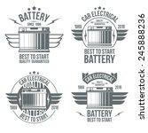 car battery shop  emblems. grey ... | Shutterstock .eps vector #245888236