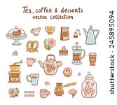 tea  coffee and desserts vector ... | Shutterstock .eps vector #245895094