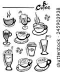 coffee hand drawn vector  ... | Shutterstock .eps vector #245903938