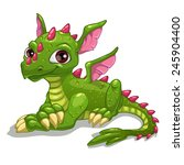 Cute Cartoon Green Dragon ...