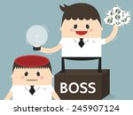 boss stealing idea from... | Shutterstock .eps vector #245907124