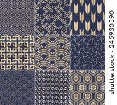 seamless japanese mesh pattern | Shutterstock .eps vector #245930590