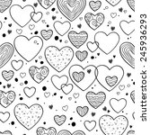 hearts and dots doodle seamless ... | Shutterstock .eps vector #245936293