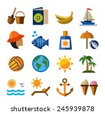 Vector Color Summer Icons On...