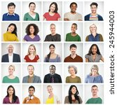 people diversity faces human... | Shutterstock . vector #245944003