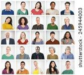 people diversity faces human... | Shutterstock . vector #245944003