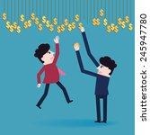 businessman collect money | Shutterstock .eps vector #245947780