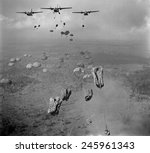 Vietnam War. In March 1963, 840 South Vietnamese paratroopers jump from US Air Force C-123 planes in a strike against Viet Cong in the Tay Ninh Province of South Vietnam.