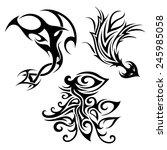 vector set of tribal tattoo.... | Shutterstock .eps vector #245985058