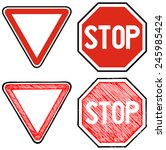 give way road and stop. road... | Shutterstock .eps vector #245985424