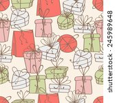 pattern of gift boxes with bow | Shutterstock .eps vector #245989648