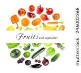 collection of fruits and... | Shutterstock . vector #246002368