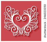 deco floral heart on red... | Shutterstock . vector #246023350