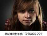 beautiful red haired girl.... | Shutterstock . vector #246033004
