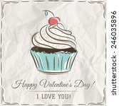 valentine card with  cupcake... | Shutterstock .eps vector #246035896