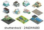 vector isometric buildings ... | Shutterstock .eps vector #246044680