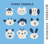 funny animals  dog  cow  cat ... | Shutterstock .eps vector #246061138