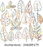 set of autumn and summer leaves ... | Shutterstock .eps vector #246089179