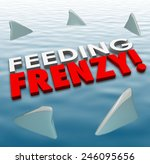 feeding frenzy in 3d letters on ... | Shutterstock . vector #246095656