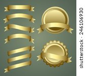set of gold ribbons and badges | Shutterstock .eps vector #246106930