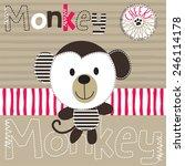 cheeky monkey on striped...   Shutterstock .eps vector #246114178